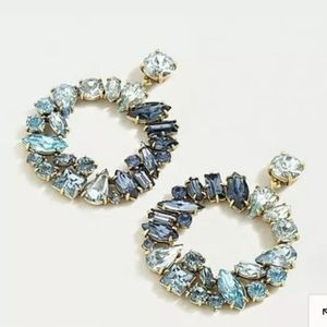 NWT Mixed Crystal Circle Statement Earrings Blue